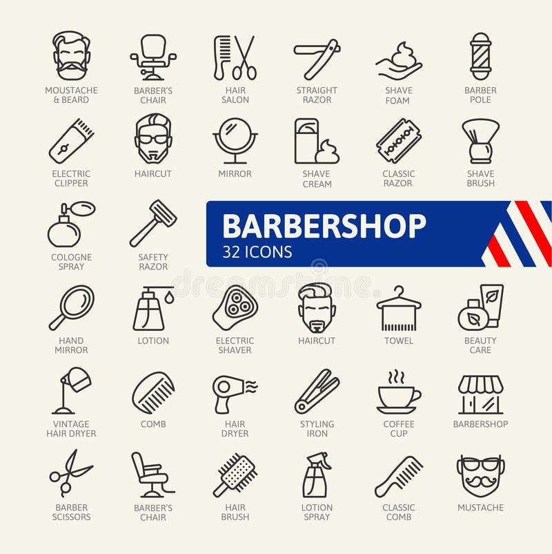 El icono del web de la peluquería de caballeros fijó - el sistema del icono del esquema stock de ilustración