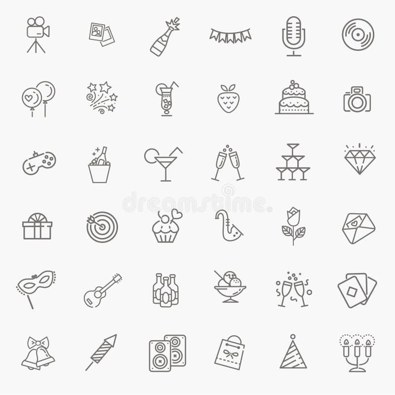 El icono del web del esquema fijó - el partido, cumpleaños, días de fiesta stock de ilustración