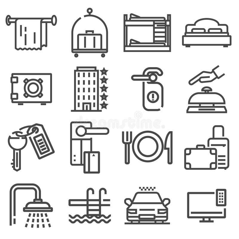 El icono del web del esquema del vector fijó - servicios de hotel stock de ilustración