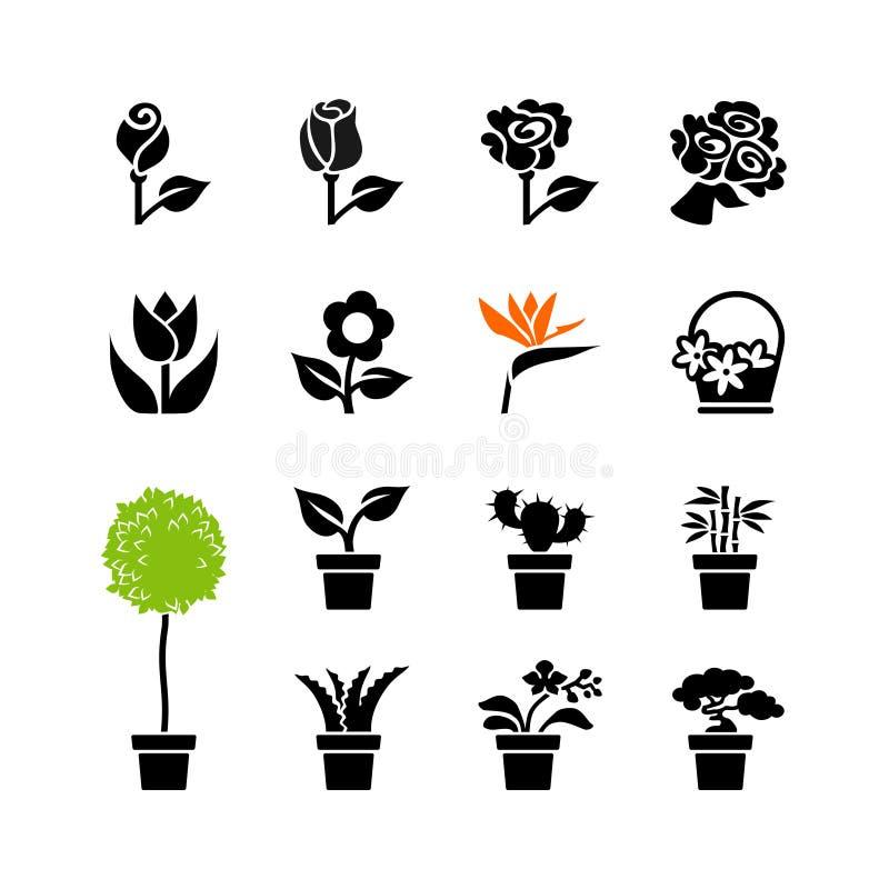 El icono del web fijó - las flores y las plantas en conserva en potes libre illustration