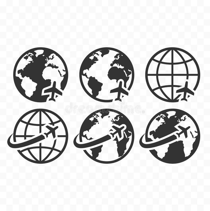 El icono del web del símbolo del globo fijó con la muestra del vuelo del aeroplano Iconos de la tierra del planeta con el icono d libre illustration
