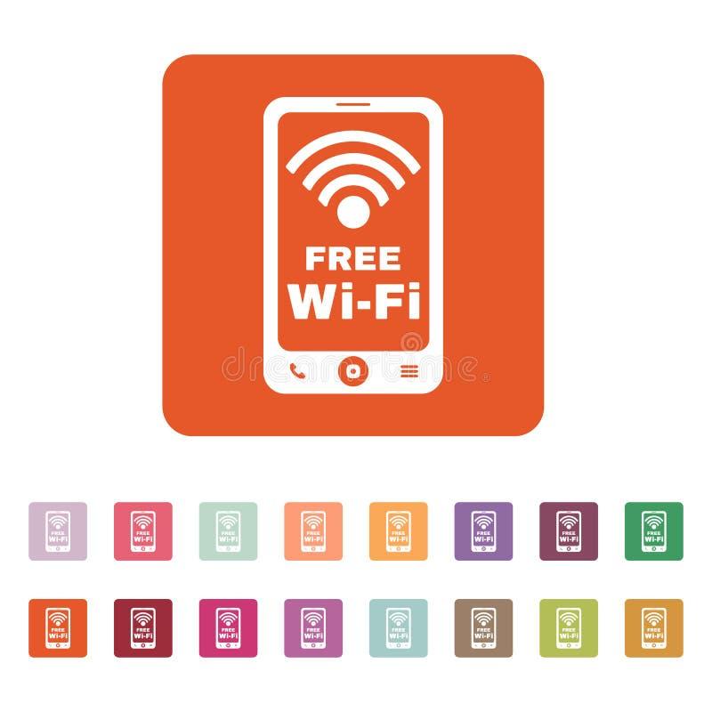El icono del wifi Símbolo libre del wifi plano stock de ilustración