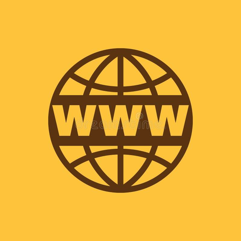 El icono del WWW SEO y navegador, desarrollo, símbolo del WWW Ui web LOGOTIPO muestra Diseño plano app ilustración del vector