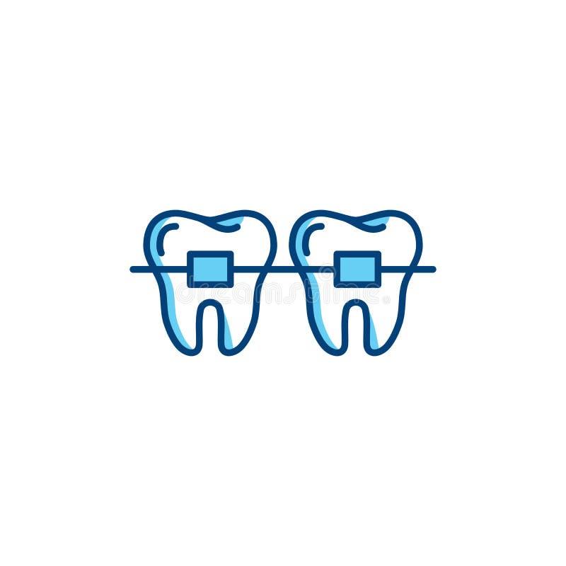 El icono dental de los apoyos, los dientes ortodónticos alinea iconos Línea fina diseño del vector del arte libre illustration