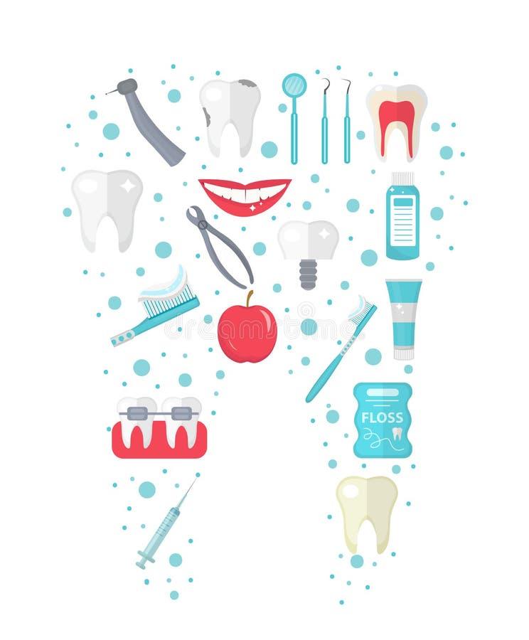 El icono dental fijó en la forma del diente, estilo plano Equipo de la estomatología aislado en el fondo blanco Colección de la o ilustración del vector