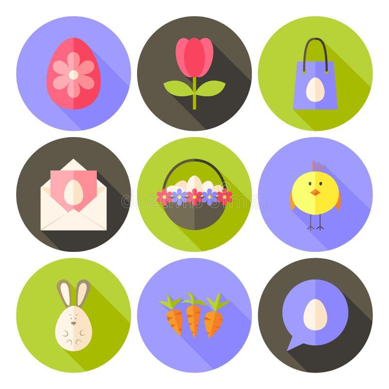 El icono diseñado plano del círculo de Pascua fijó 2 con la sombra larga libre illustration