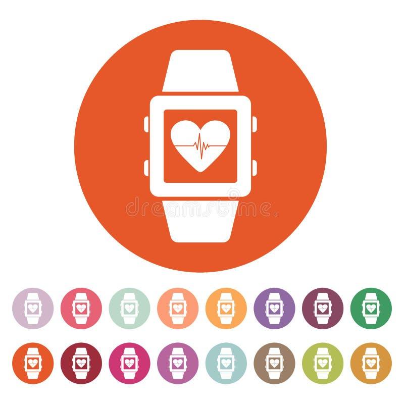 El icono elegante del reloj Símbolo de la pulsera de la aptitud stock de ilustración