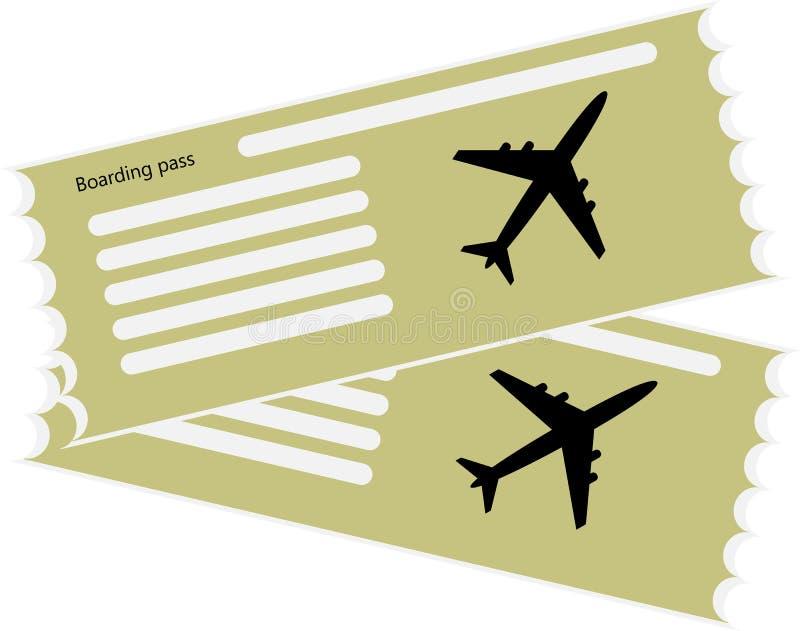 El icono en blanco del avión del boleto ilustración del vector