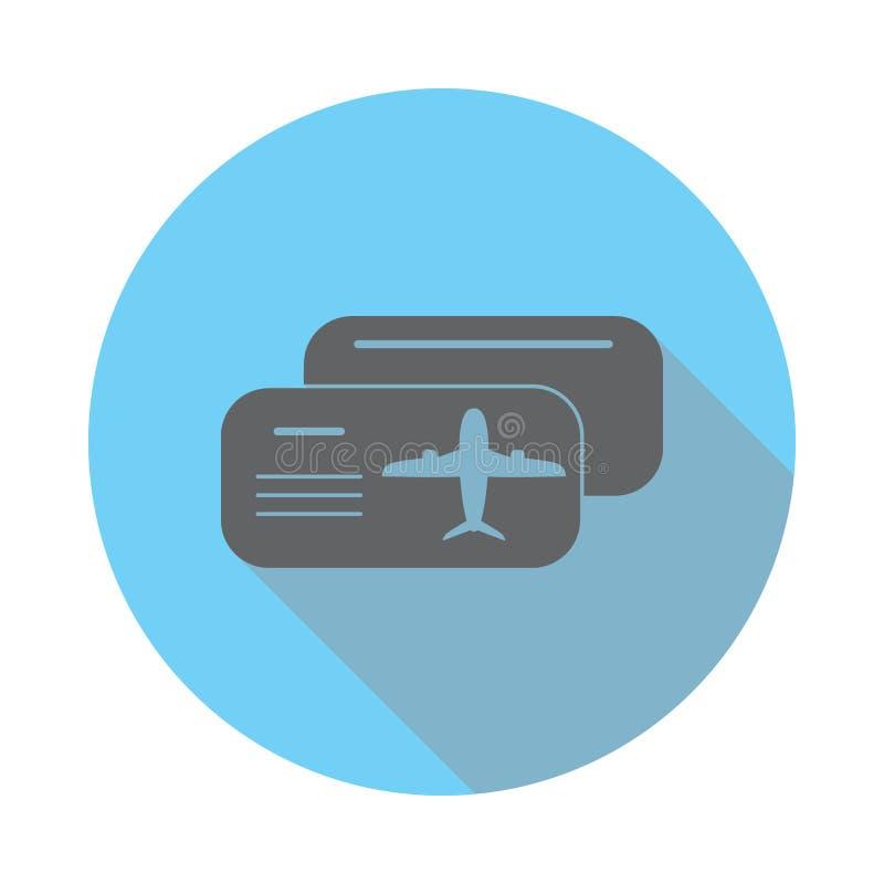 El icono en blanco del avión del boleto Los elementos del aeropuerto en azul colorearon completamente el icono Icono superior del libre illustration