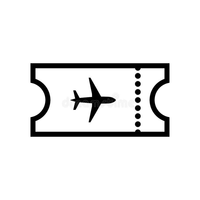 El icono en blanco del avión del boleto Símbolo del viaje ilustración del vector