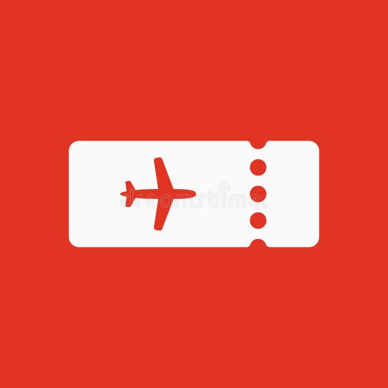 El icono en blanco del avión del boleto Símbolo del viaje plano ilustración del vector