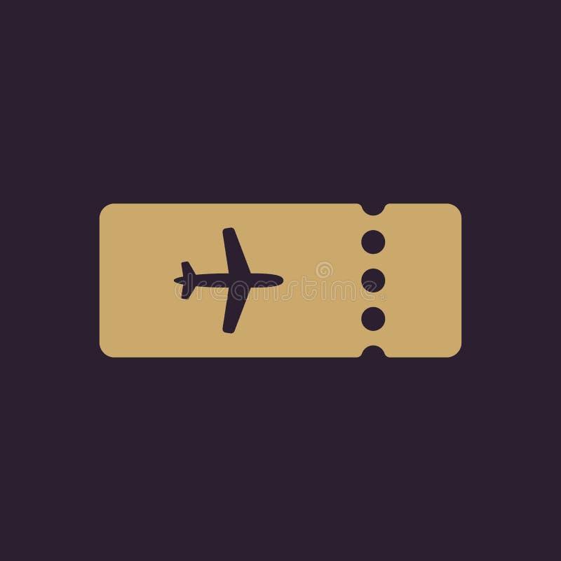 El icono en blanco del avión del boleto Símbolo del viaje plano stock de ilustración