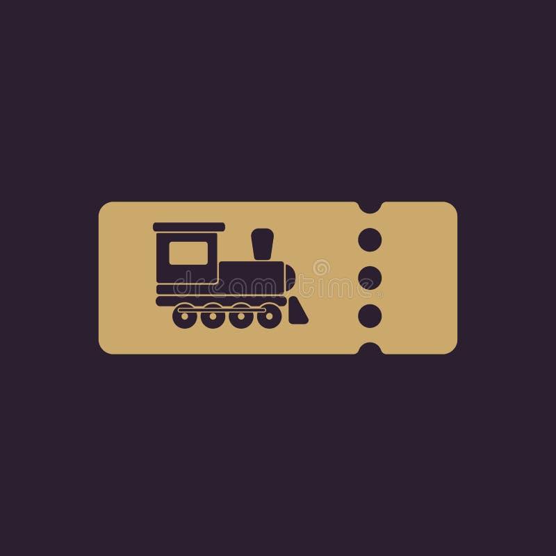 El icono en blanco del boleto de tren Símbolo del viaje plano stock de ilustración