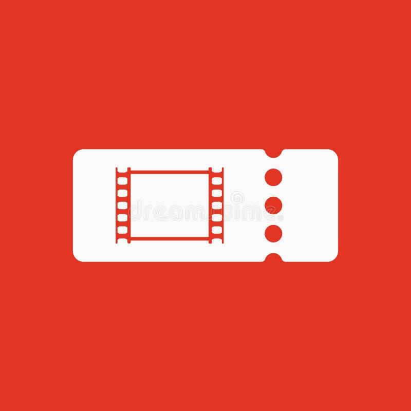 El icono en blanco del boleto del cine stock de ilustración