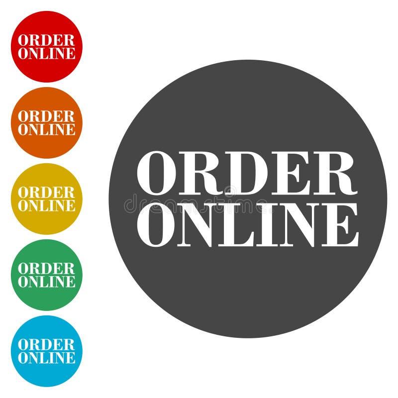 El icono en línea de la orden, muestra, botón en línea de la orden fijó stock de ilustración