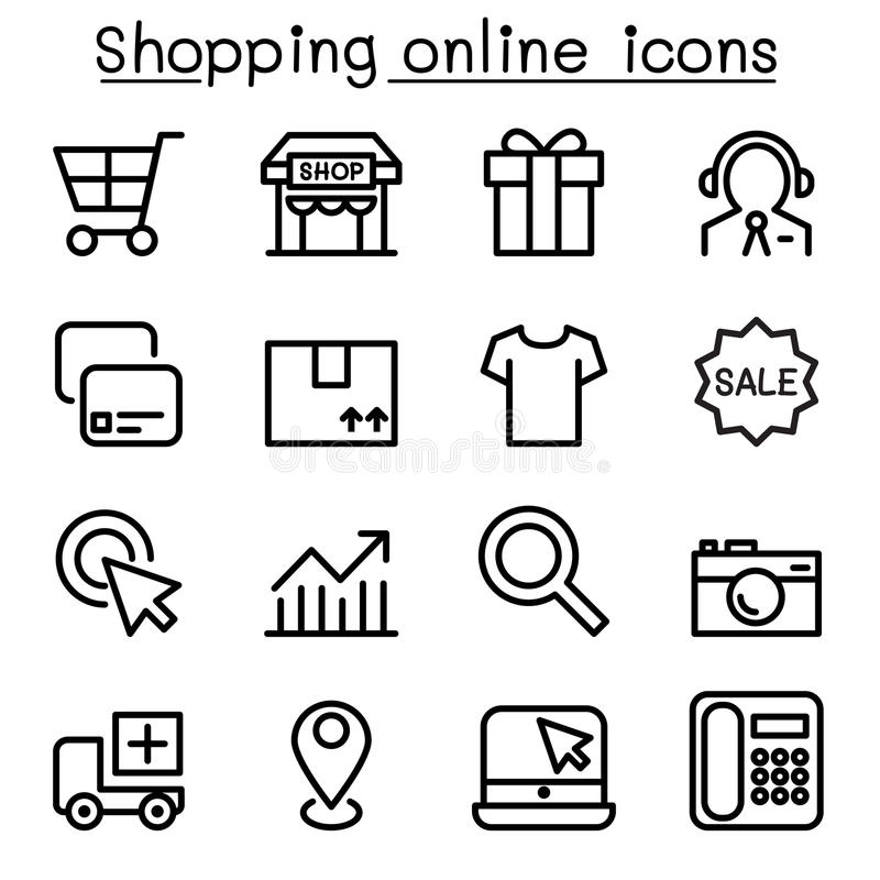 El icono en línea que hacía compras fijó en la línea estilo fina libre illustration