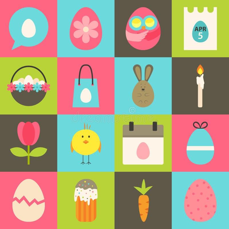 El icono estilizado plano de Pascua fijó 2 stock de ilustración