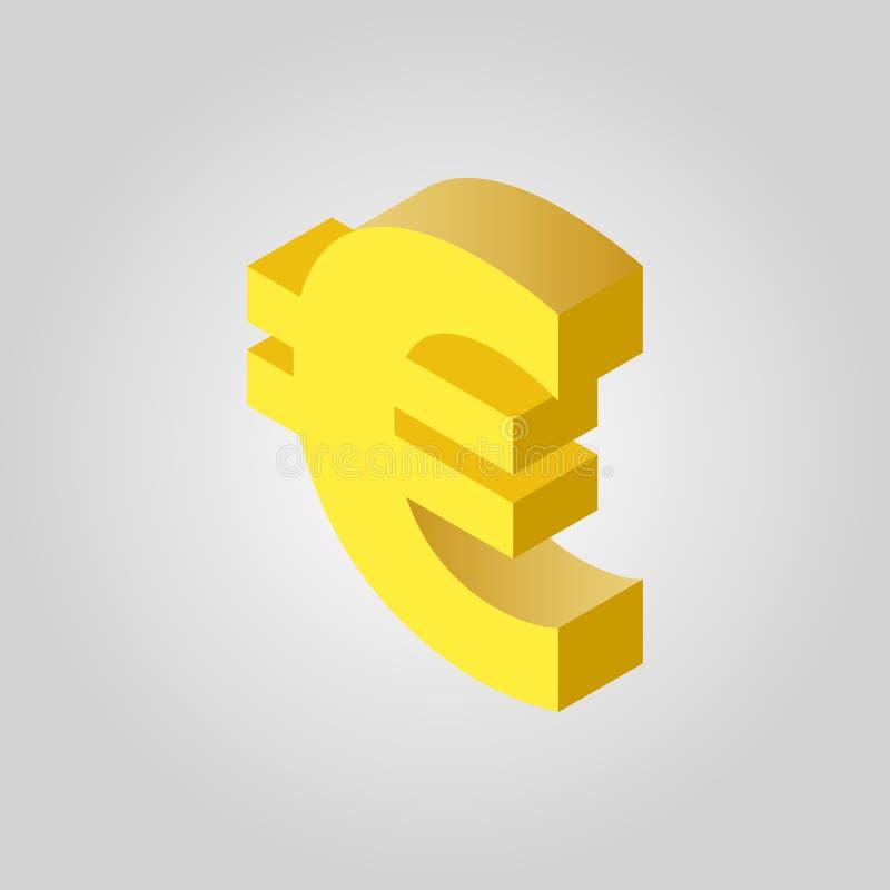 El icono euro Efectivo y dinero, riqueza, símbolo del pago 3D isométrico Vector plano libre illustration