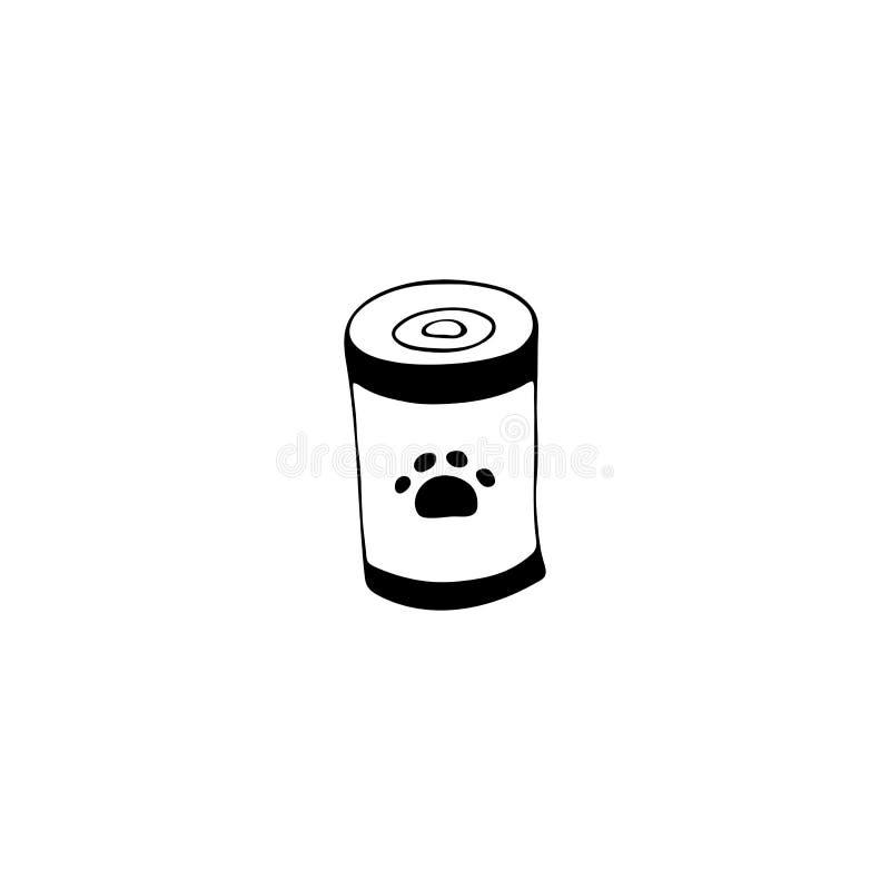 El icono exhausto de la mano del vector, puede con el alimento para animales Elemento del logotipo para el negocio relacionado de stock de ilustración