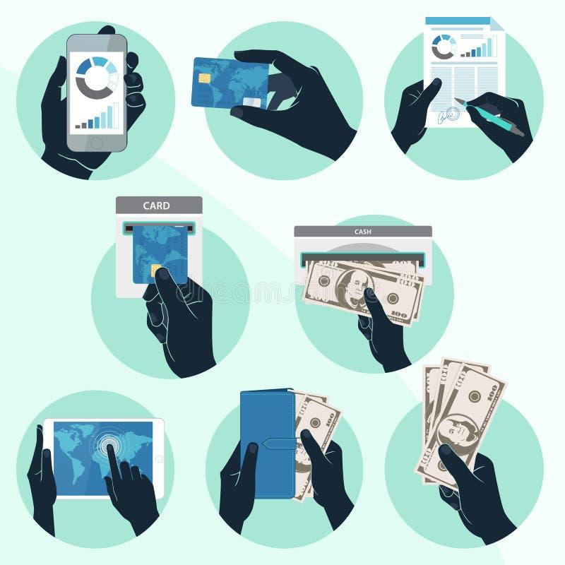 El icono fijó con las manos que llevaban a cabo la tarjeta de crédito, el smartphone, el dinero y o ilustración del vector