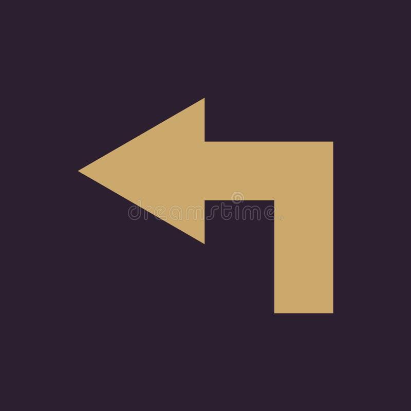 El icono izquierdo Dirección y flecha, símbolo de la navegación plano ilustración del vector