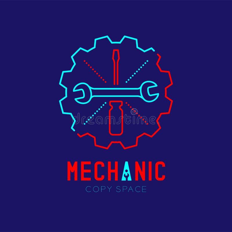 El icono, la llave y el destornillador del logotipo del mecánico en línea determinada de la rociada del movimiento del esquema de libre illustration