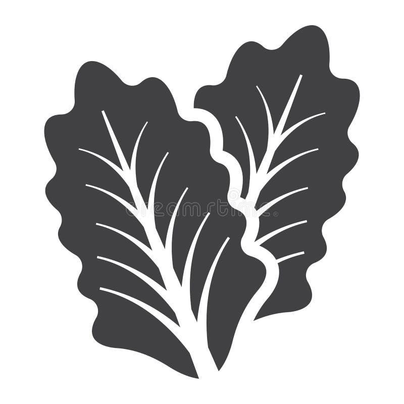 El icono, la verdura y la ensalada sólidos de la lechuga hojean libre illustration