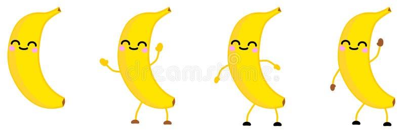 El icono lindo de la fruta del plátano del estilo del kawaii, ojos se cerró, sonriendo Versión con las manos aumentadas, abajo y  ilustración del vector