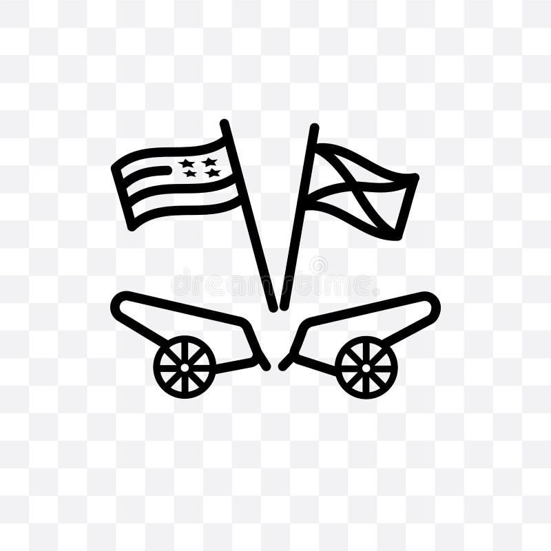 el icono linear americano del vector de la guerra civil aislado en fondo transparente, concepto americano de la transparencia de  libre illustration