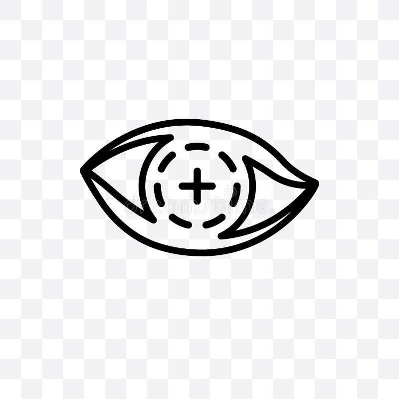 El icono linear de contacto del vector biónico de la lente aislado en fondo transparente, concepto biónico de la transparencia de libre illustration