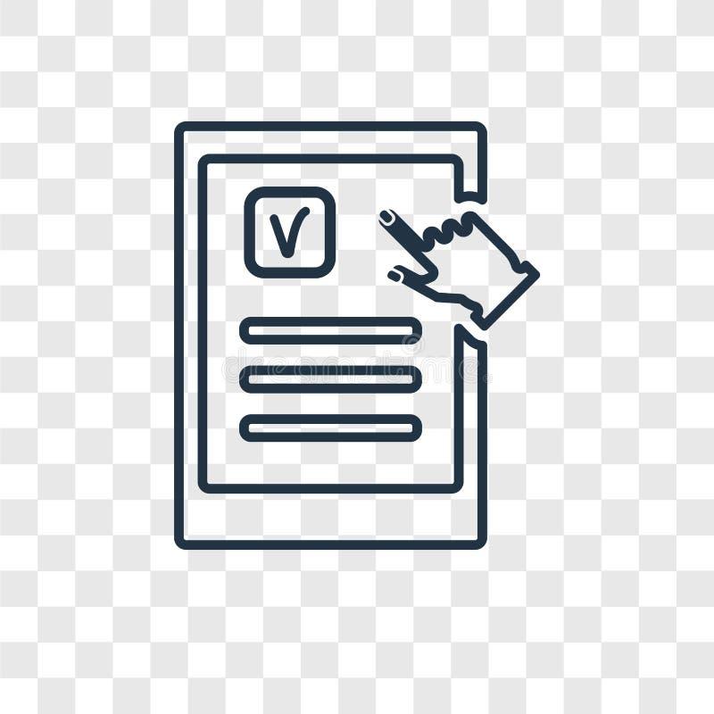El icono linear de la tableta del vector táctil del concepto encendido transparen ilustración del vector