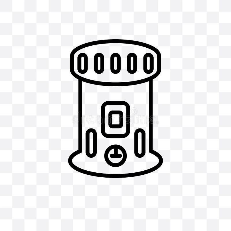 el icono linear del vector del calentador de keroseno aislado en el fondo transparente, concepto de la transparencia del calentad stock de ilustración