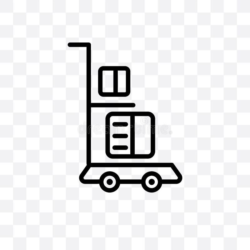 El icono linear del vector del carro de la entrega aislado en el fondo transparente, concepto de la transparencia del carro de la ilustración del vector