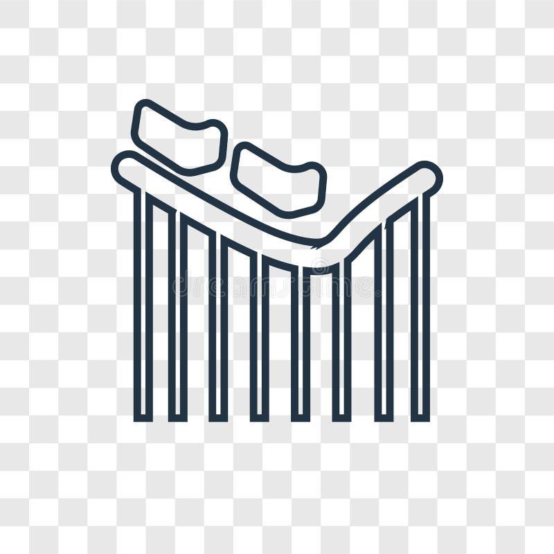 El icono linear del vector del concepto de la montaña rusa aislado encendido transparen stock de ilustración