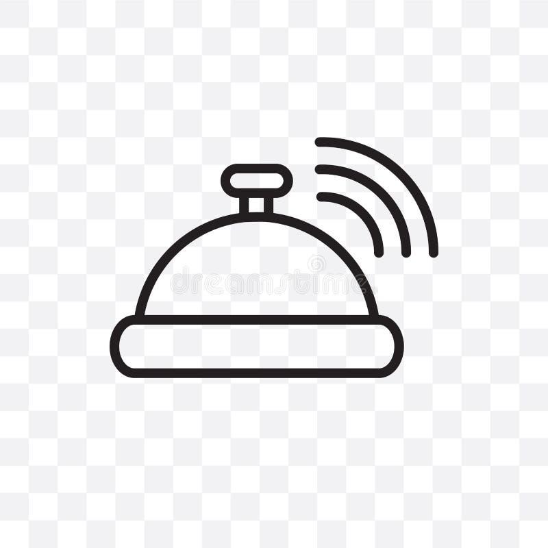 El icono linear del vector de la campana de la recepción aislado en el fondo transparente, concepto de la transparencia de la cam stock de ilustración