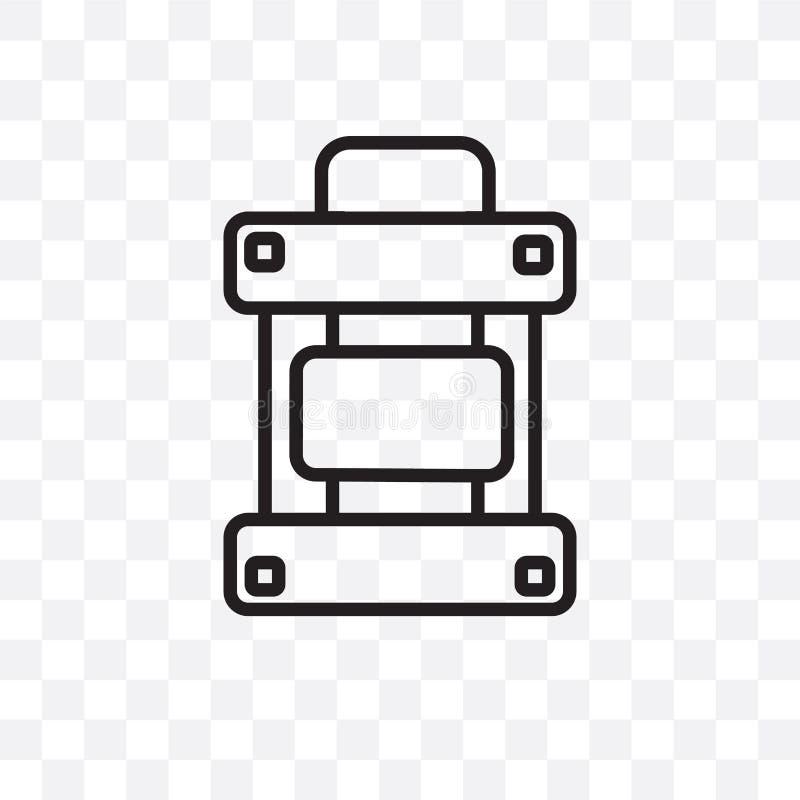 El icono linear del vector de la mochila del ejército aislado en el fondo transparente, concepto de la transparencia de la mochil ilustración del vector