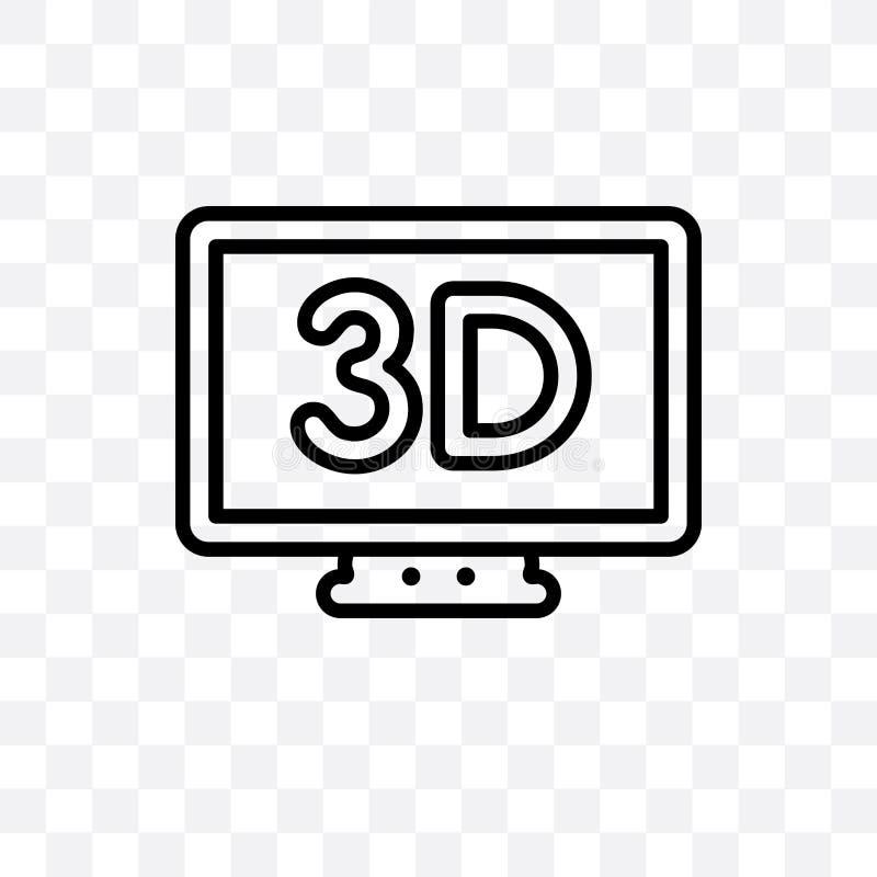 el icono linear del vector de la pantalla de 3 dimensiones aislado en fondo transparente, concepto de la transparencia de la pant ilustración del vector