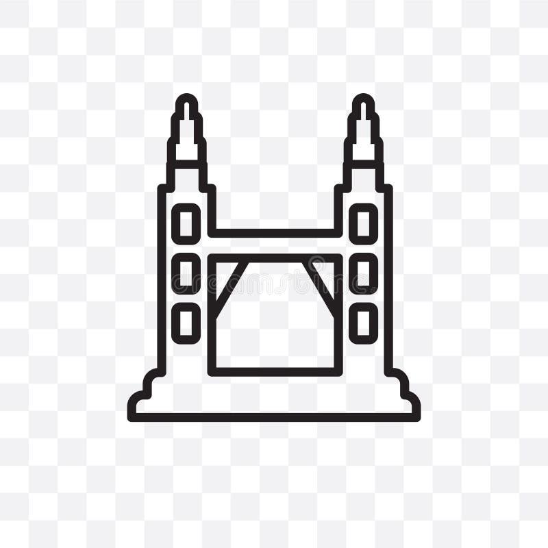 El icono linear del vector de las torres de Petronas aislado en el fondo transparente, Petronas se eleva concepto de la transpare libre illustration