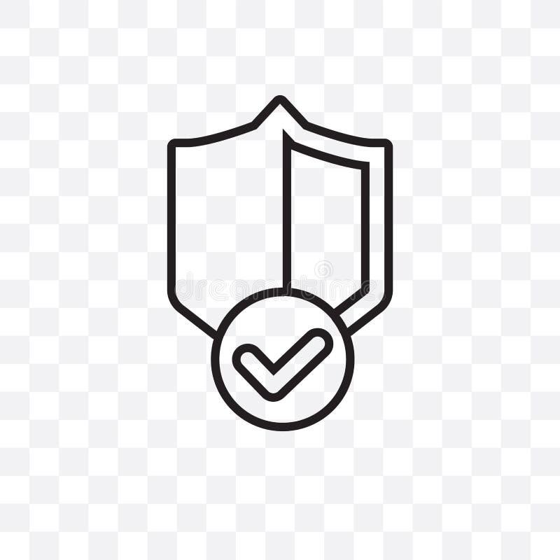 el icono linear del vector del escudo de la garantía aislado en el fondo transparente, concepto de la transparencia del escudo de stock de ilustración