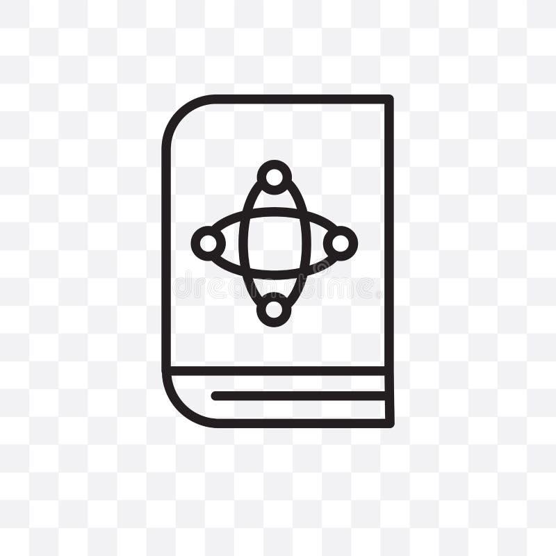 El icono linear del vector del libro de la ciencia aislado en el fondo transparente, concepto de la transparencia del libro de la stock de ilustración