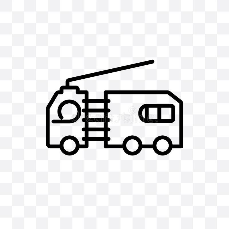 el icono linear del vector plano del camión aislado en fondo transparente, concepto plano de la transparencia del camión se puede stock de ilustración