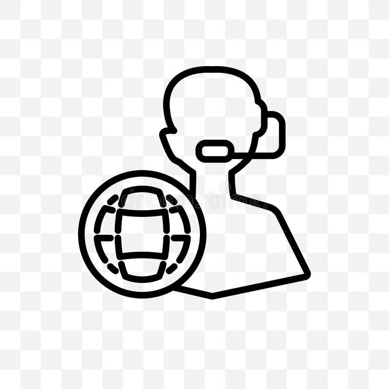 El icono linear del vector del servicio de atención al cliente aislado en el fondo transparente, concepto de la transparencia del libre illustration