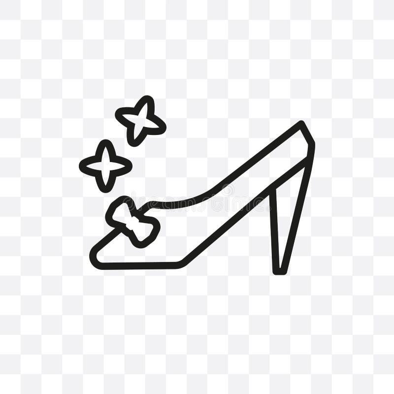 El icono linear del vector del zapato de Cenicienta aislado en el fondo transparente, concepto de la transparencia del zapato de  ilustración del vector