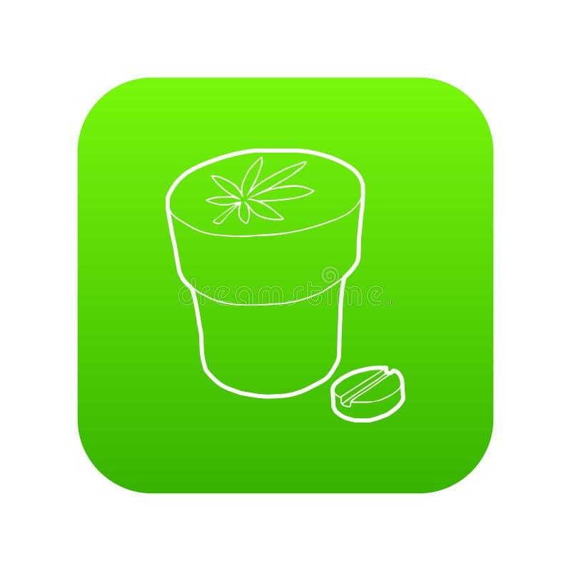 El icono médico de la botella y de la tableta de la marijuana pone verde vector libre illustration