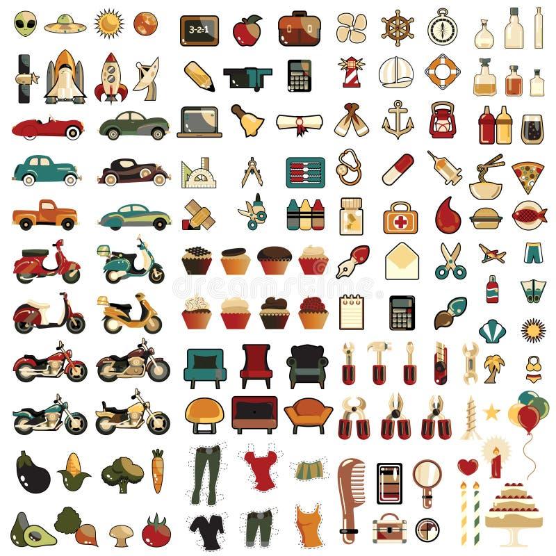 El icono mega fijó 124 cientos espeac stock de ilustración