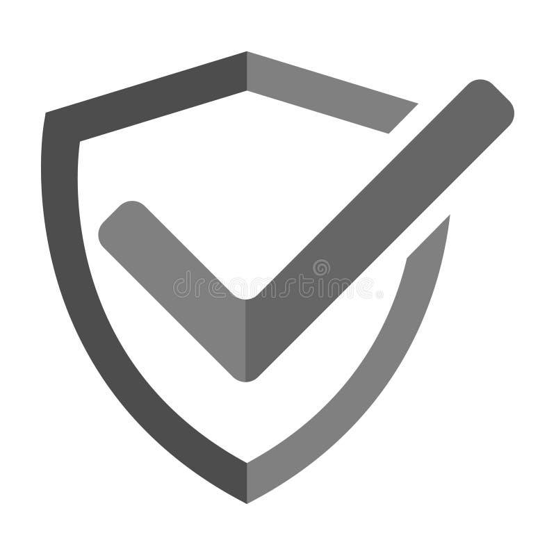 El icono moderno del escudo, marca aprobó, protege, símbolo seguro del vector libre illustration