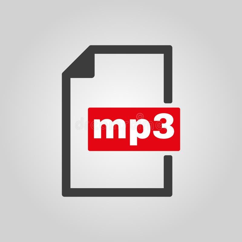 El icono mp3 Símbolo del formato de audio del fichero plano libre illustration
