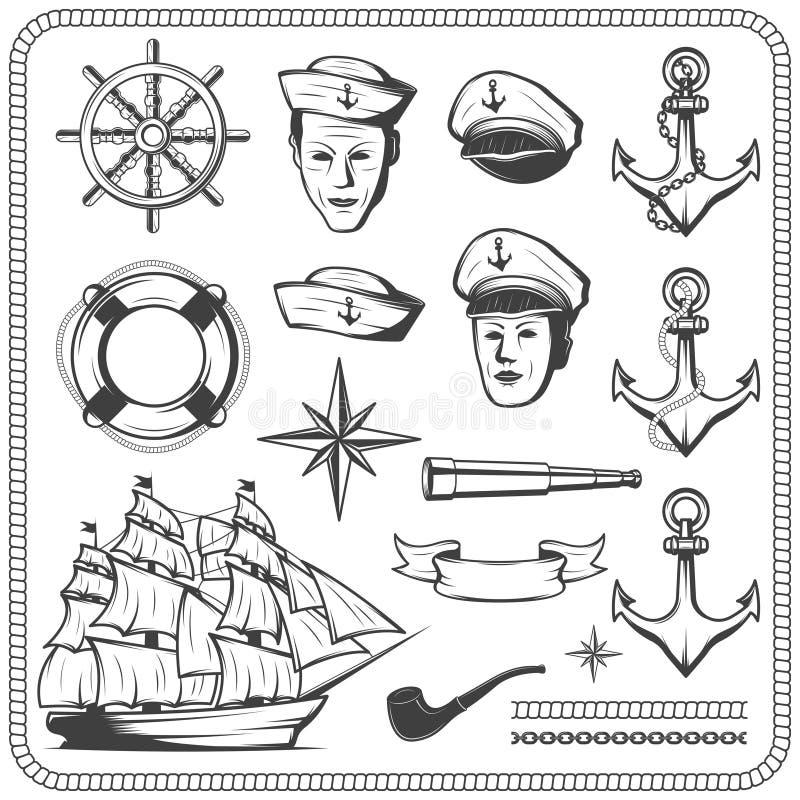 El icono naval del marinero del vintage fijó en el ejemplo monocromático del estilo ilustración del vector