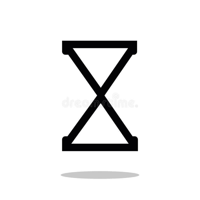 El icono negro del vector del reloj de arena, reloj de la arena aisló el objeto en el fondo blanco libre illustration