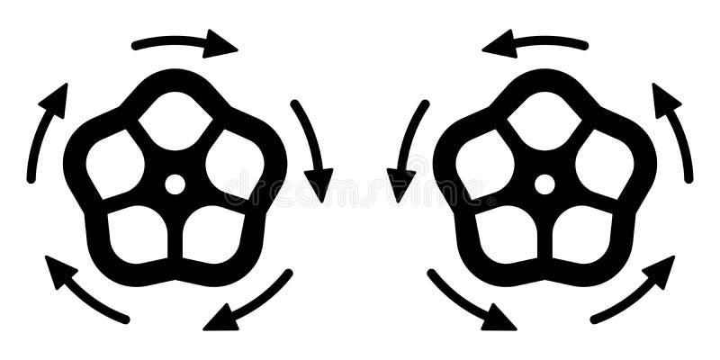 El icono para abrir y para cerrar el grifo, concepto del vector de apretar la válvula del agua, icono que hace girar, desatornill ilustración del vector